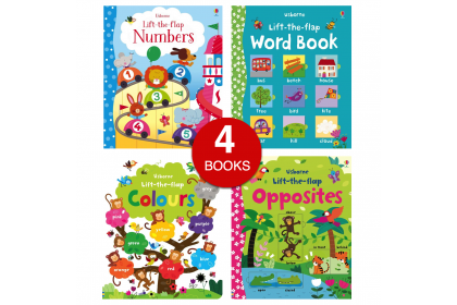 Usborne Lift-the-Flap (Numbers, Colours, Word, Opposites) (4 books)