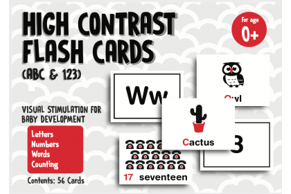 High Contrast Flashcards - ABC & 123