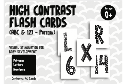 High Contrast Flashcards - ABC & 123 (Pattern)